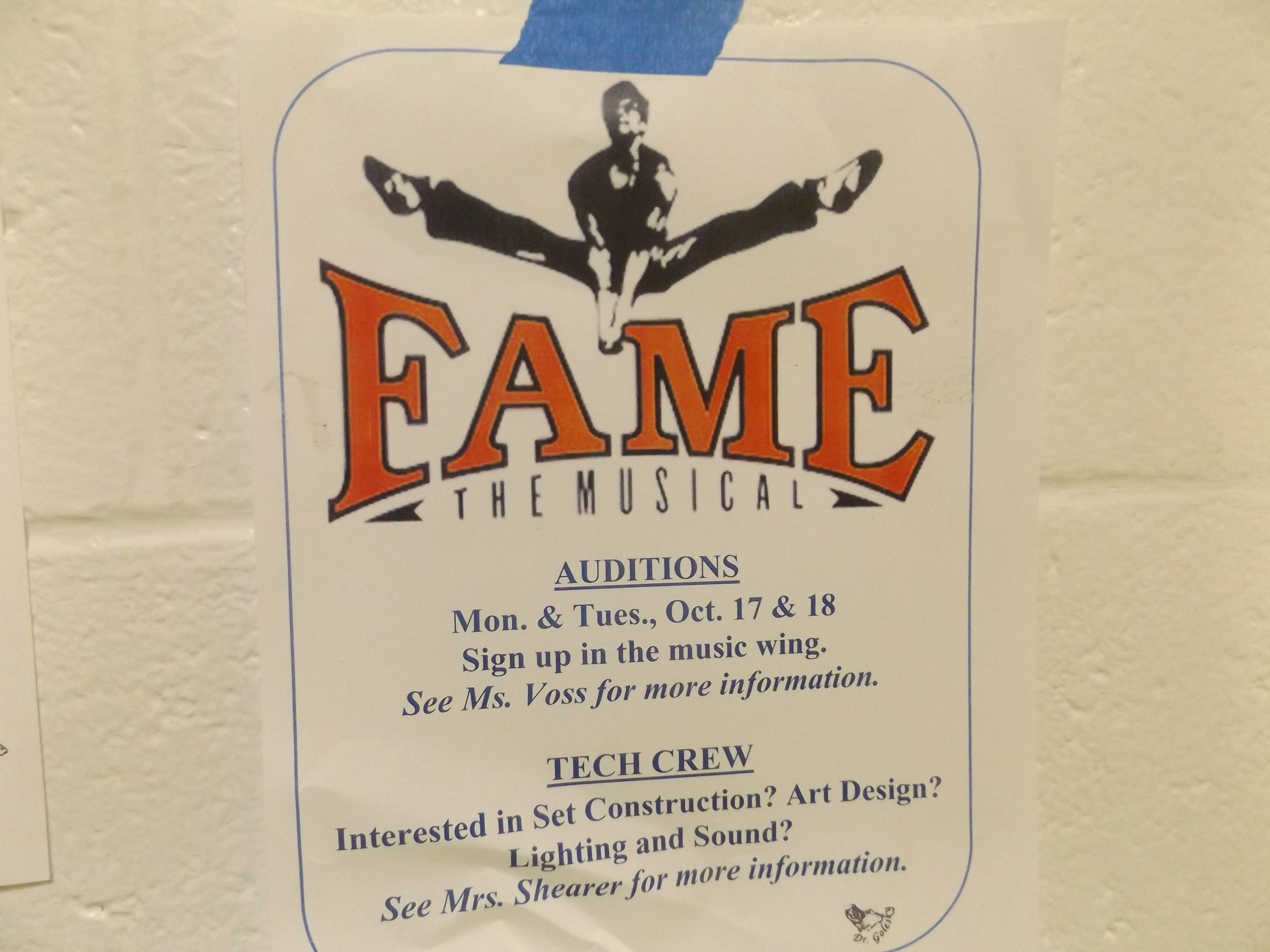 """""""Fame"""" auditions are coming up soon. You don't have to act to be a part of the production! Photo courtesy Kyle Cohen taken October 4, 2016."""