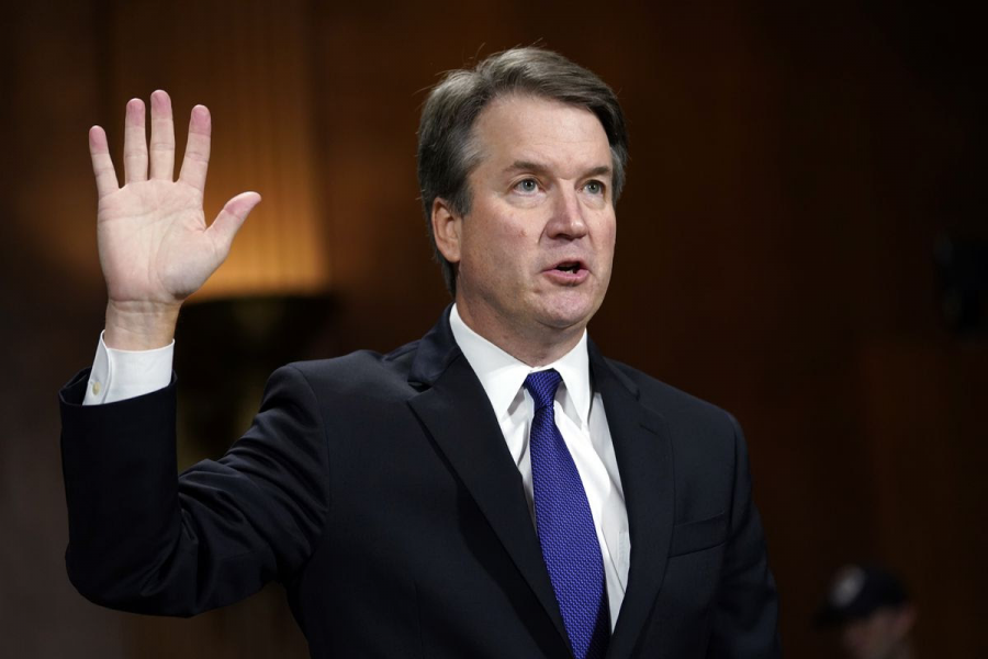 Photo+courtesy+of+Supreme+Court+official+website.+Brett+Kavanaugh+taking+the+Judicial+Oath+in+the+Justices%E2%80%99+Conference+Room.+%0A