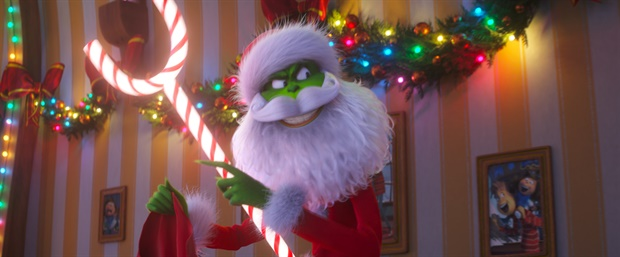 Caption: A scene from The Grinch depicting the Grinch as Santa. Photo courtesy IMDb and Illumination