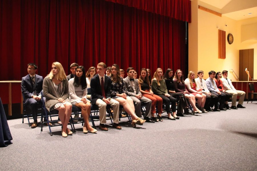 The+latest+inductees+of+the+Foran+National+Honors+Society+sitting+during+the+ceremony.+Each+student+had+to+complete+the+rigorous+entrance+process.+%0A