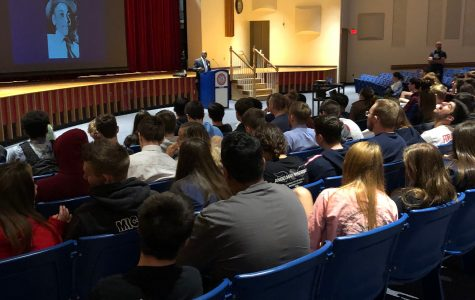 Chief Justice of Connecticut's supreme court, Richard Robinson, speaking for Foran High School's AP Government and Civics classes on Friday, May 24.