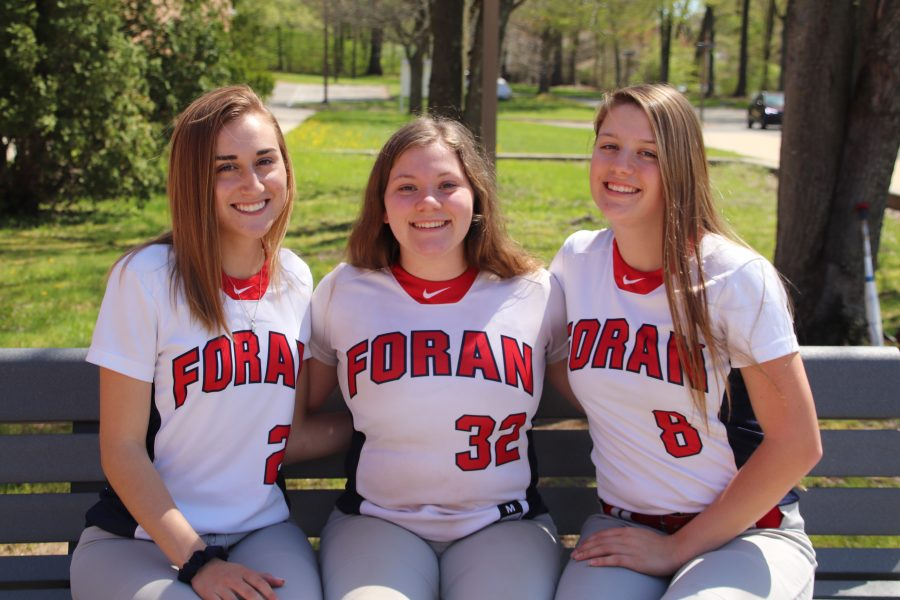 Seniors+Makenna+Prete%2C+Hailey+Laforte%2C+and+Kailey+Loewenberg+on+the+foran+softball+team+that+left+behind+their+tips+for+underclassmen.