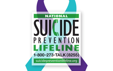 Suicide Prevention Ribbon with lifeline information. Photo courtesy of  suicidepreventionlifeline.org