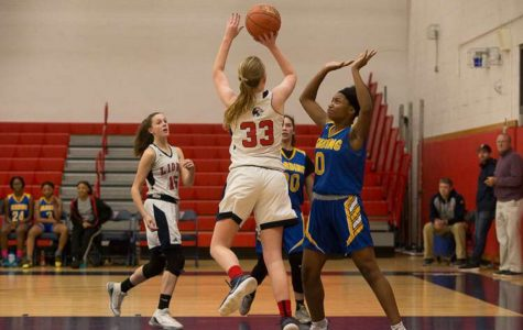 Foran basketball captain, Bridget Collins, goes up for a shot on January 7, 2019. Photo courtesy of Kathy Nemec- Lucas .