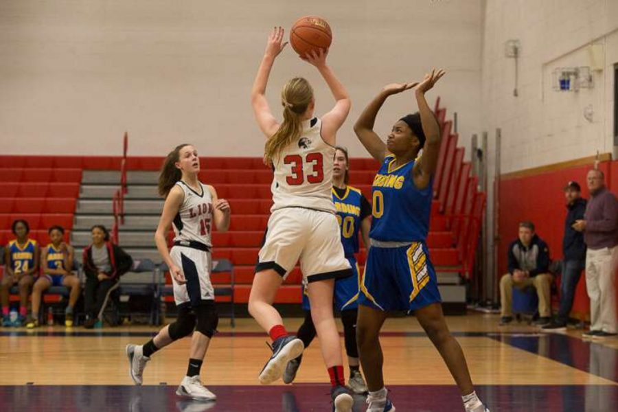 Foran+basketball+captain%2C+Bridget+Collins%2C+goes+up+for+a+shot+on+January+7%2C+2019.+Photo+courtesy+of+Kathy+Nemec-+Lucas+.