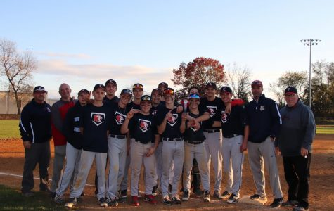 Foran Baseball team holding up trophy after defeating Amity on Saturday 4-2. Photo Courtesy: Corina Massey.