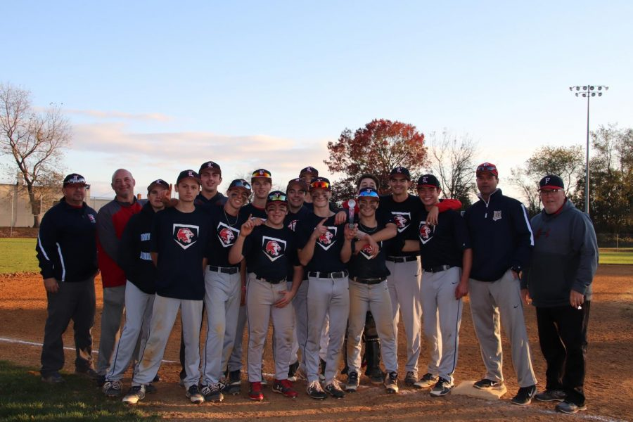 Foran+Baseball+team+holding+up+trophy+after+defeating+Amity+on+Saturday+4-2.+Photo+Courtesy%3A+Corina+Massey.+