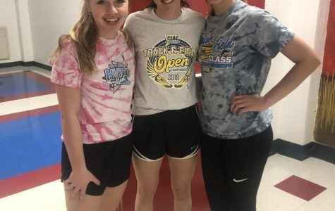 Three senior girls pose for a picture at track practice for Ms.Farrell December 5th,2019 Photo Courtesy of, Lisa Farrell