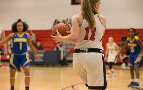 Mia Tunucci looks for an open teammate to pass to during last year's season against Harding High School on January 7, 2019.