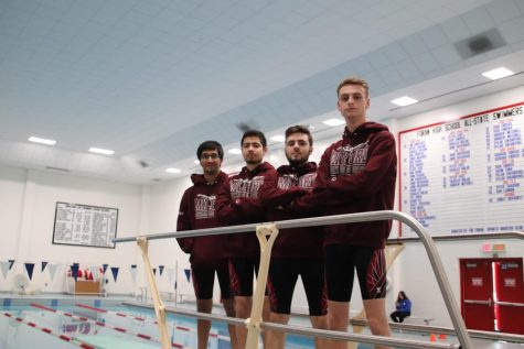 Left to right: Seniors Jay Rajani and Bruno Sequera, from Jonathan Law High School, and seniors Casey Coon and Lucas Burgard from Foran High School. Caption #2: Foran senior captains Casey Coon and Lucas Burgard pose for a photo before their meet against West Haven/Platt Tech. on Tuesday, February 4.