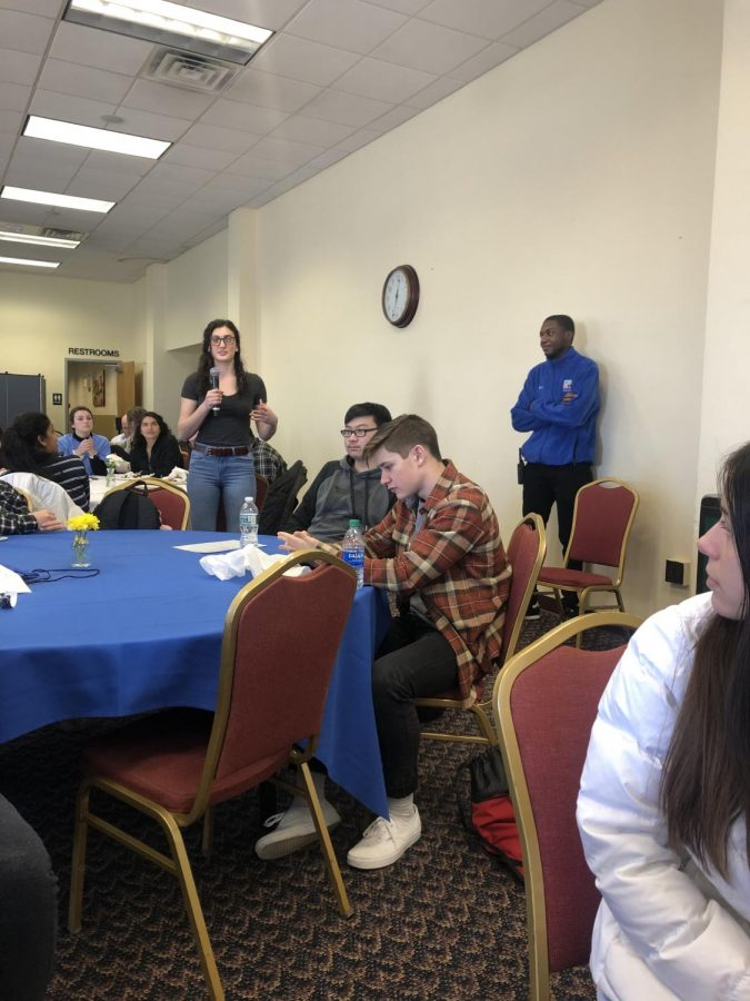 Staff writer Sole Meade asks a question during the CCSU HS Journalism day on Feb. 28, 2020.