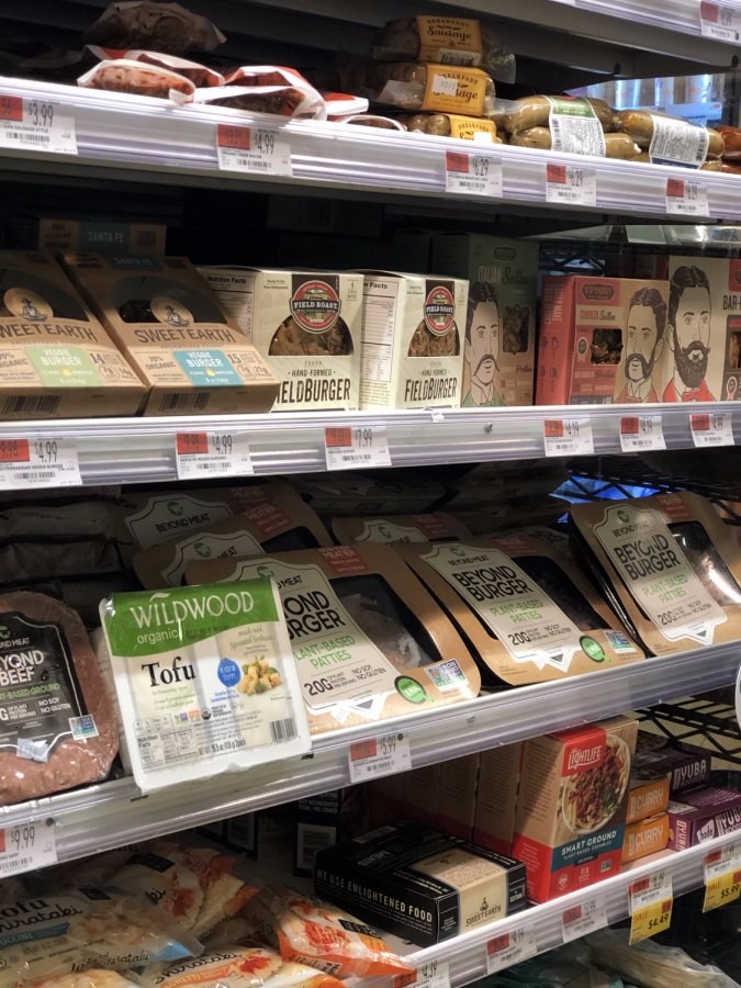 Plant-based section at the local supermarket showing many options that can replace traditional meat.