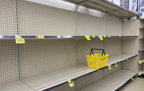 Pictured is the empty shelves at Dollar General located in Milford CT. Amidst this pandemic, local stores have been sold out of items such as toilet paper, as pictured. Many residents are concerned that they will run out of essentials like toilet paper so it has been one of the most common items to sell out in stores. Photo courtesy of Abby Woodward.