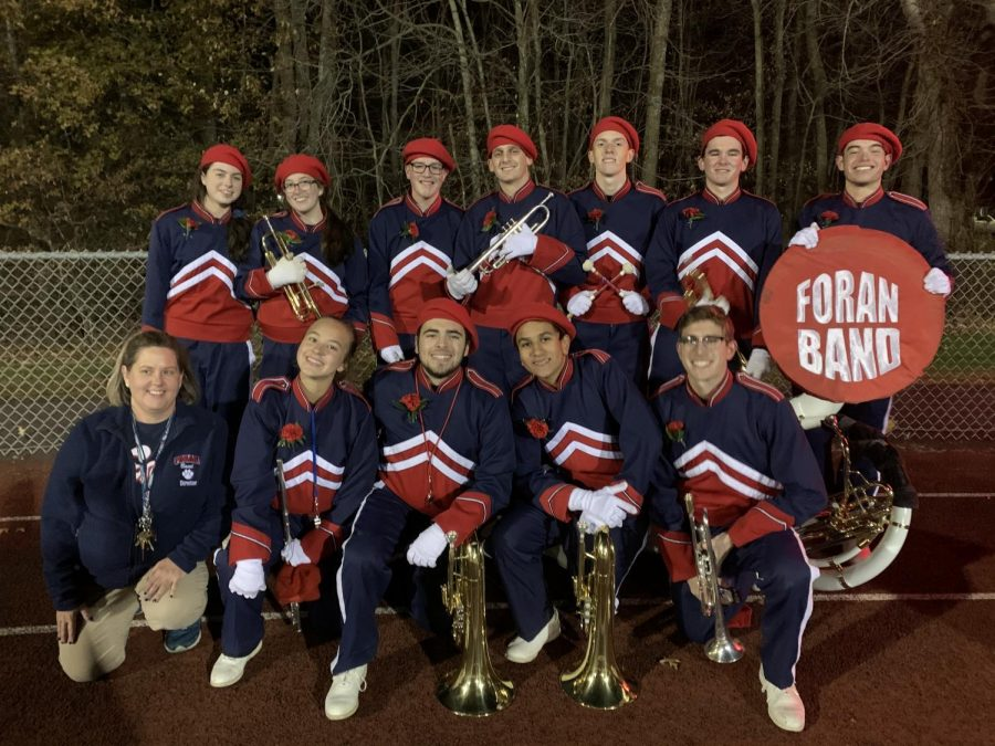 Pictured are the Foran band seniors after their marching band performance on senior night.