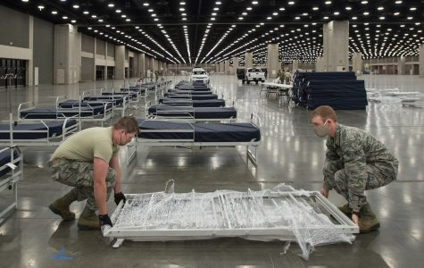 More than 30 members of the Kentucky Air National Guard's 123rd Civil Engineer Squadron set up hospital beds and clinical space at the Kentucky Fair and Exposition Center in Louisville, Ky., April 13, 2020. Photo courtesy of Dale Greer/Air National Guard.