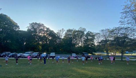 Cheerleaders at their socially-distanced practice on September 25, 2020. Photo courtesy of Amanda Quieroz.