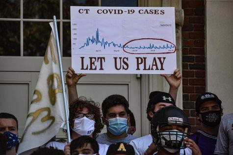 "Players show a photo of the Covid-19 cases in Connecticut with the caption on the poster ""Let Us Play"" on September 9. Photo courtesy of Shawn McFarland/The Hartford Courant."