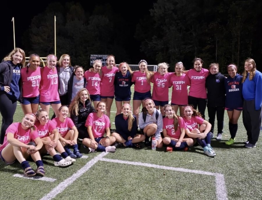 The 2019 Girls soccer team supports Breast Cancer awareness fundraiser last fall.  	Photo courtesy of  Foran Girls Soccer Instagram .