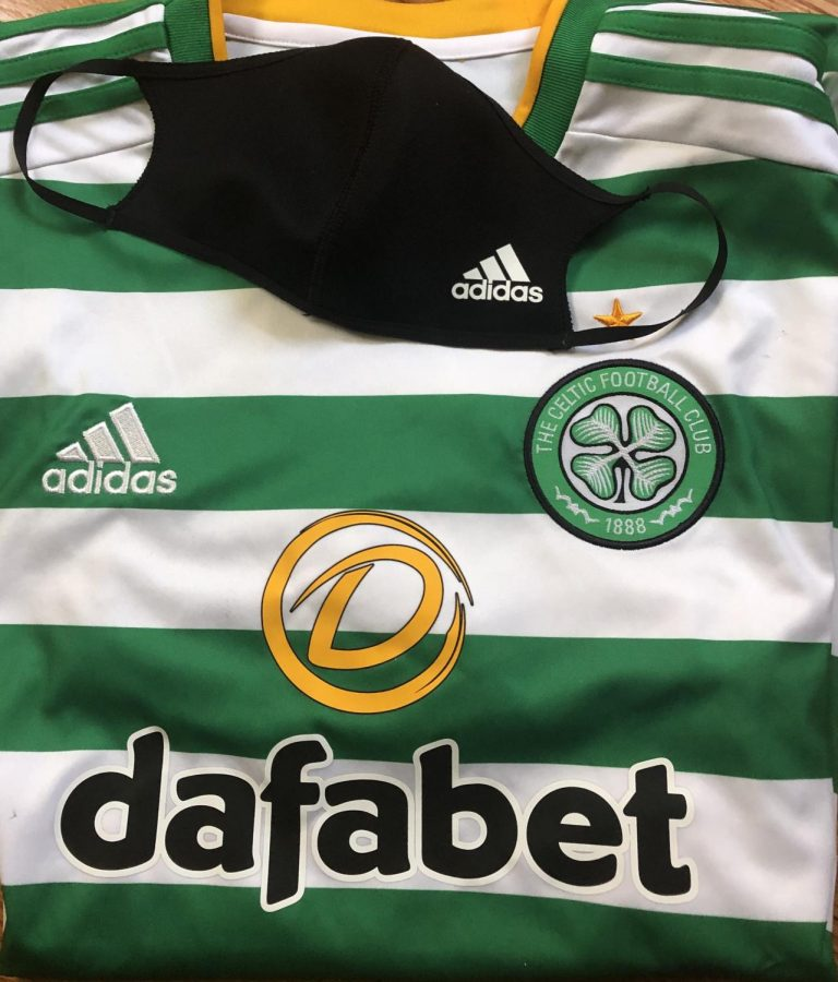 Scottish+Club+Celtic+Home+Shirt+with+an+example+of+a+mask+that+is+worn+on+the+bench+during+games.+%0APhoto+Courtesy+%3A+Kevan+Cogan.+October+16+2020.