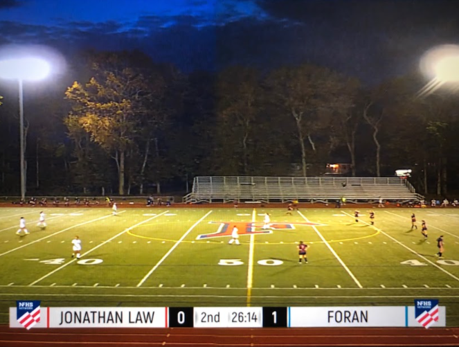 Pictured is the Foran Girl Soccer's Varsity team from the point of view of the NFHS camera during their game against Law.  Photo Courtesy: Amy Flynn taken on October 1st,2020 at 7:08 PM.