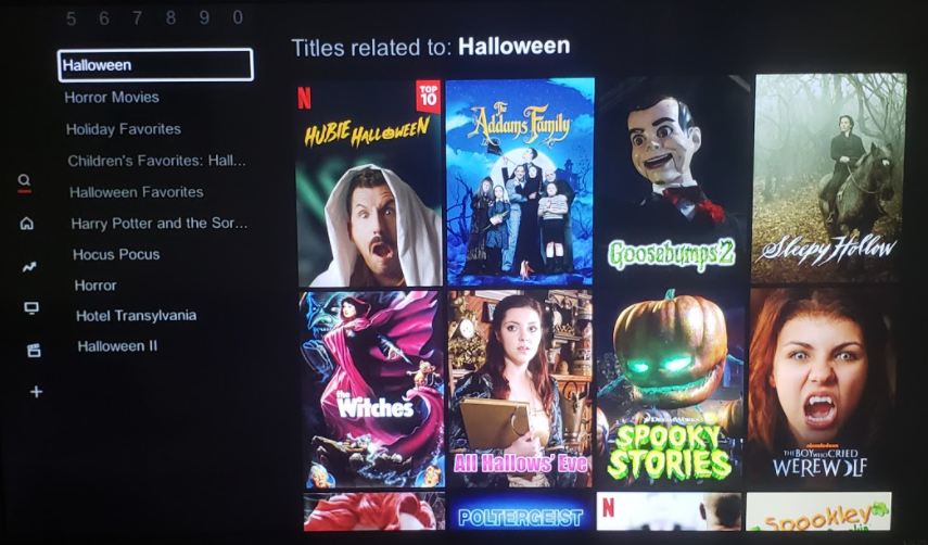 Popular Halloween Movie Covers:  Trending Halloween movies on Netflix.  Photo Courtesy: Renzo Silva, October 19, 2020.