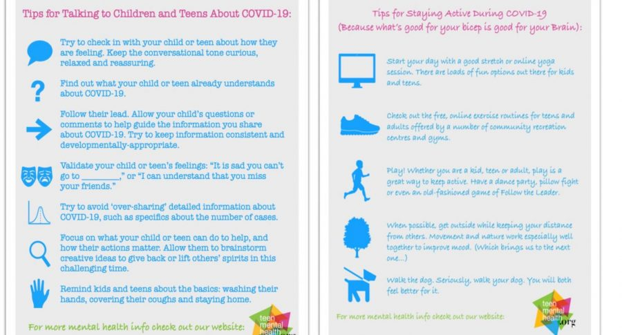 Poster outlining tips about mental health from teenmentalhealth.org Photo Courtesy: Joel Acevedo