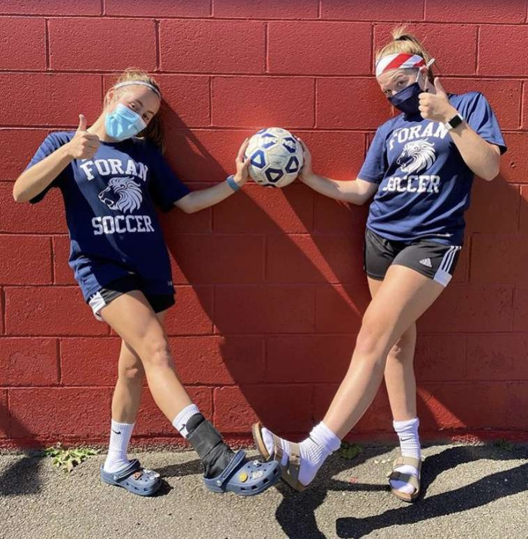Senior Captains Isabel Morales(left) and Anna Byers(right) poses for a picture after a practice. Photo courtesy: Ella Morales, September 19, 2020.