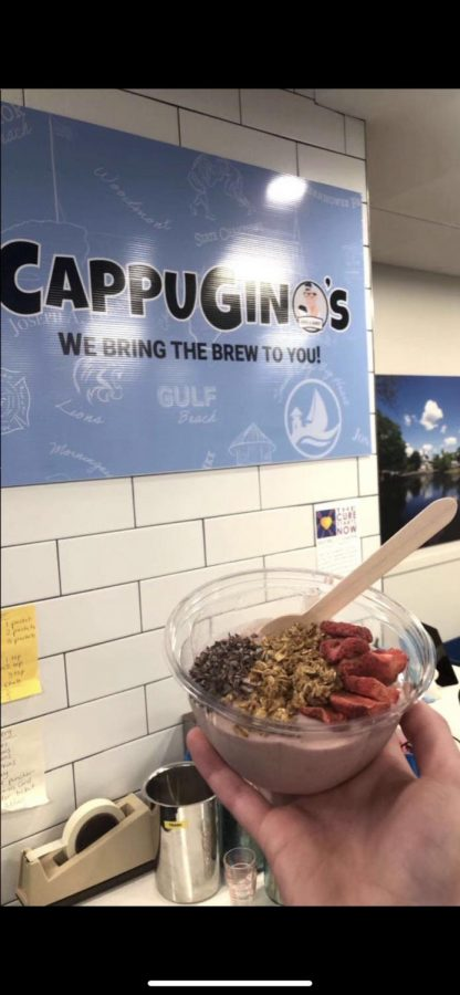 Enjoy smoothie bowls and more at CappuGino's, 20 Commerce Park, Milford. Photo Courtesy: Ava Candido.