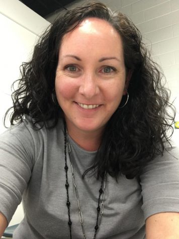 Photography teacher Mrs. Hudson in her classroom after school.  Photo Courtesy: Mrs. Hudson, Taken Nov. 9, 2020.