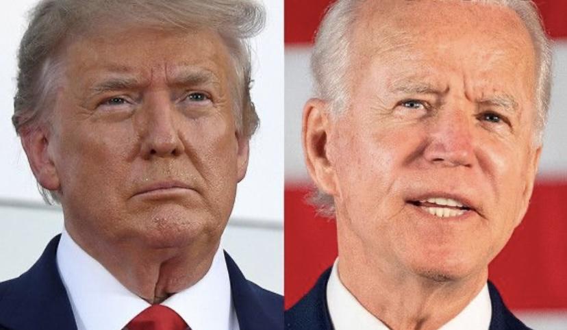 President Trump and candidate Biden awaiting their third debate. Photo courtesy:  Robert Schroeder, October 18, 2020.