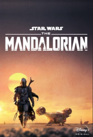 "This is a promotional poster for ""The Mandalorian"" featuring the main character Mando, a lone bounty hunter on a mission with his ship ""The Lasercrest"" in the background."