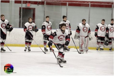 Milford hockey player Luca Ubaldi gets called out pre-game. Photo courtesy of Chris Eadevito Photography
