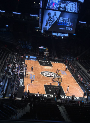 The Brooklyn Nets warm up on the basketball court before their game against the New Orleans Pelicans. Photo courtesy of Ian Eisenman, December 27, 2017.
