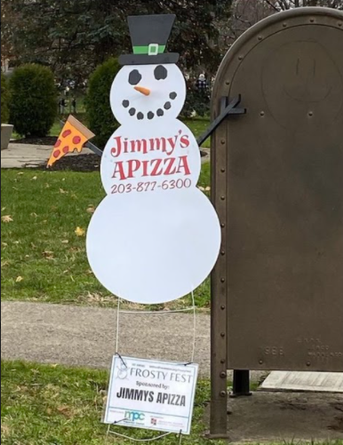 Jimmy's Apizza snowman on the Milford green. Photo courtesy Danielle Hogan