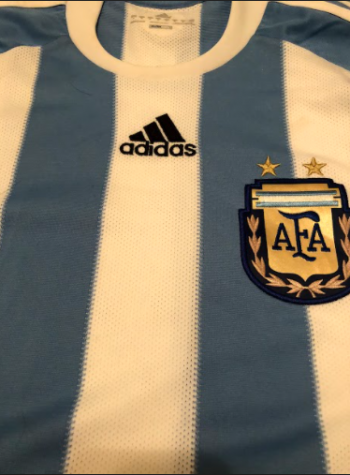 Revisiting The Past : The Argentinian National team shirt that was active during the time of Maradona. Photo Courtesy Kevan Cogan on December 6, 2020.