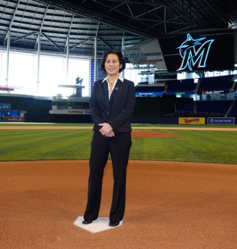 Kim Ng has been a part of Major League Baseball for the last three decades. Ng is pictured at the Marlins stadium. Photo Courtesy of Joseph Guzy, via Associated Press. Reprinted with permission.