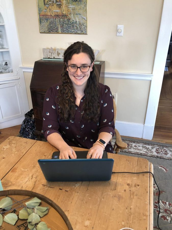 Ms. Meghan Condon: Working at home during distance learning. Photo courtesy: Ms. Condon. January 8, 2020.