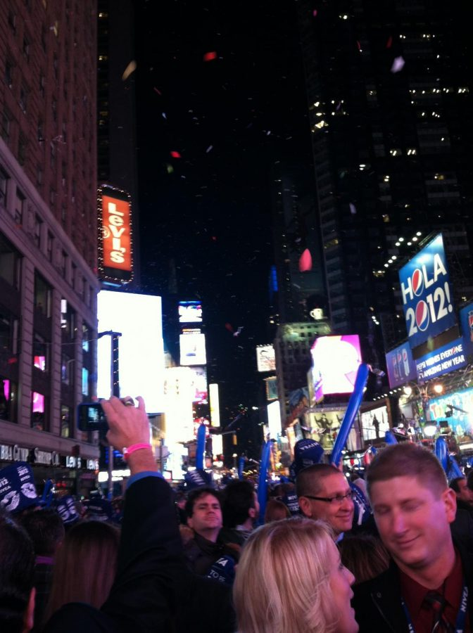 2012 Ball Drop: Crowds in full effect to celebrate the new year of 2012 in Times Square. Photo courtesy of Tori Lanese.