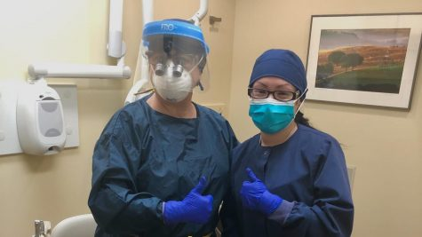 In Practice: Dental Hygienists sporting updated Personal Protective Equipment as a precaution against coronavirus. Photo Courtesy: Bethany Ayoub, January 18, 2021.