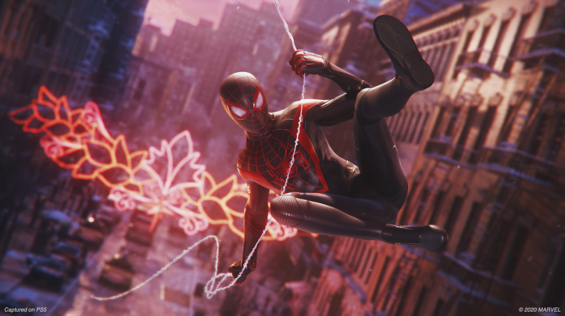 In-game look cutscene of Spiderman (Miles Morales) swinging through New York City.   (Courtesy of the official playstation website and Sony Interactive Entertainment)