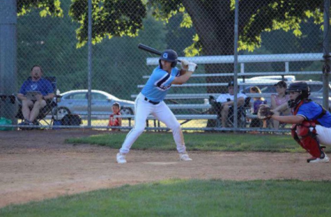 Batter up: Simonelli at bat for the CT Grind baseball team. Photo courtesy: Erica Simonelli, July, 2020