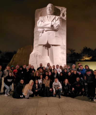 Foran Journalism and history department visited the MLK Jr. monument in 2019.  Photo courtesy, citizen in D.C. November 2019.