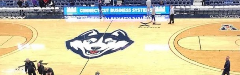 Play on:  Uconn basketball court at the XL Center. Photo courtesy of Jake Israelite, February 26, 2020.