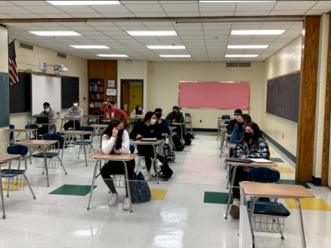 Returning to Foran: In person learners from Ms. Hoffer's AP Human Geography class listen to a lesson. Photo Courtesy: Eliot Poffenberger, January 22, 2020.