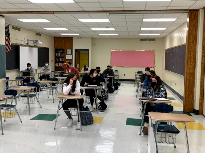 Returning to Foran: In person learners from Ms. Hoffer's AP Human Geography class listen to a lesson. Photo Courtesy: Eliot Poffenberger, January 22, 2021.