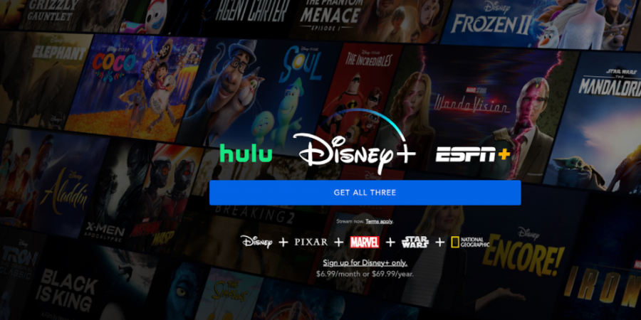 Disney+ cover photo displays bundle package and movies and tv series offered on this service. Photo courtesy from the official Disney Plus Website,  January 26,  2021.