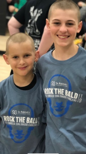 Joey Honcz on the right and his cousin Ben on the left, in their last shave for St.Baldrick's in 2019. Photo Courtesy of Christina Honcz. December 18, 2020.