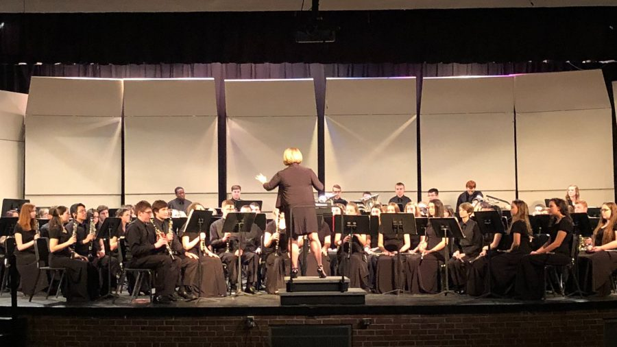 In Concert: Ms. Turner conducting the Foran Band during their weekend trip to New York City. Photo courtesy: Ms. Jessica Turner, March 2019.