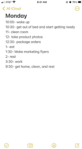 Mivette's daily schedule she plans for herself. Photo Courtesy: Mivette Garcia February 15, 2021
