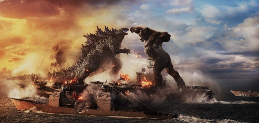 Promotional Art for Godzilla vs Kong of the two iconic monsters clashing it out.  Photo Courtesy: official Warner Bros pictures website